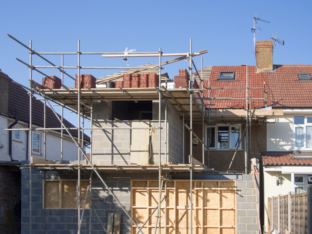 An work in progress house extension project on an exterior view